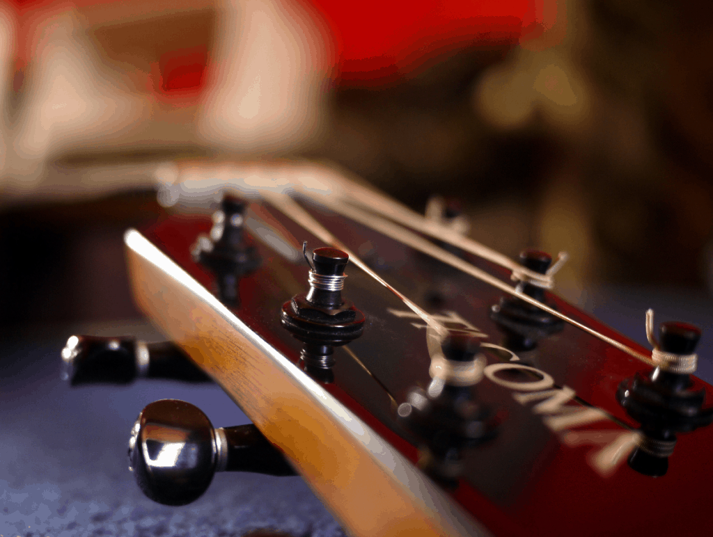 The headstock of a guitar