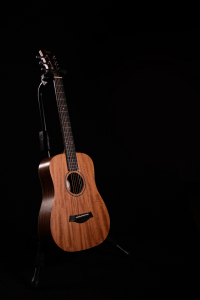 Acoustic guitar in a stand